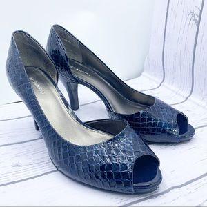Liz Claiborne Peep Toe Heels, Snakeskin Pattern